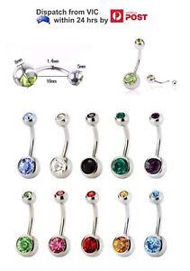 Handcuffs Belly Navel Bar Ring Crystal Gem Dangle Body Piercing Jewellery 316L