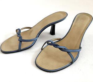 GUCCI-Women-Open-Toe-Slip-On-Mules-Heel-Shoe-Slides-Leather-Silk-Strap-Blue-36-6