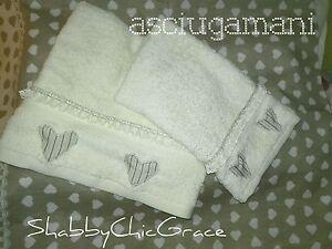SET-asciugamani-ospite-Shabby-Chic-CUORI-amp-MERLETTO-Applicati-IDEA-REGALO