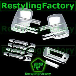 07-14-Silverado-Sierra-Chrome-Towing-Mirror-4-Door-Handle-Tailgate-w-KeyHo-Cover