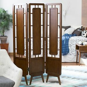 Details About Walnut Finish 3 Panel Mid Century Design Room Divider Screen Home Furniture