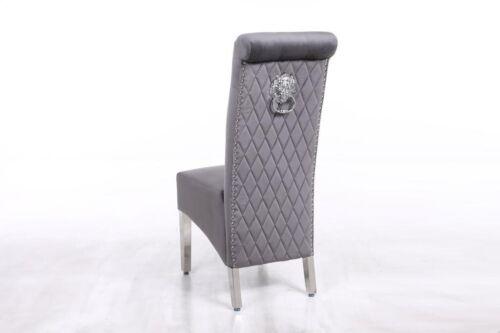 Lion Knocker High Back Plush Velvet Dining Chair
