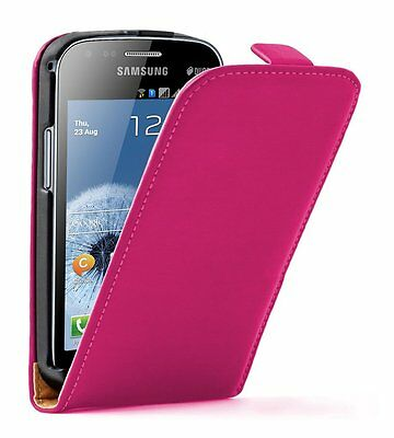 Ultra Slim PINK Leather Vertical case cover for Samsung Galaxy S Duos GT-S7562