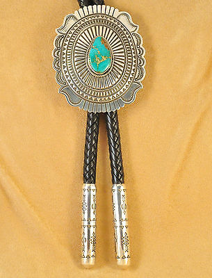Sterling Silver Navajo Bolo Tie Natural HG Royston Turquoise By Darrell Cadman