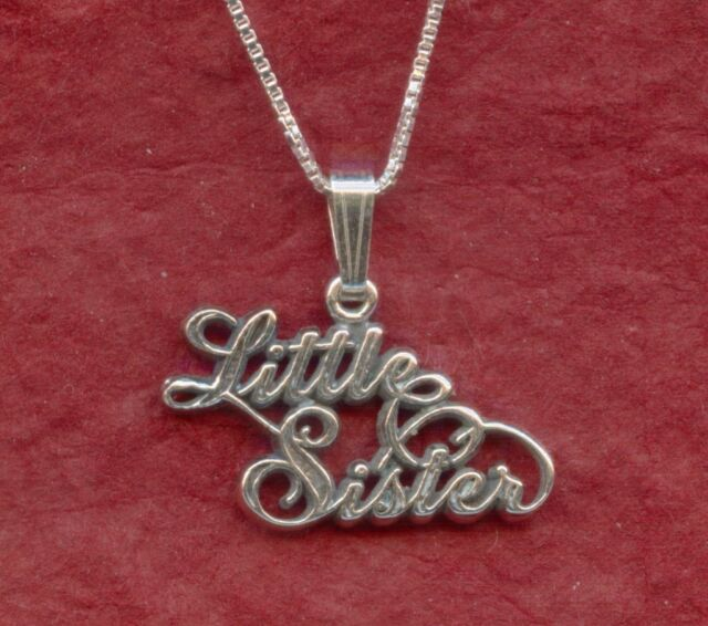 Sterling Silver Little Sister Necklace Solid 925 Charm Pendant Chain sis
