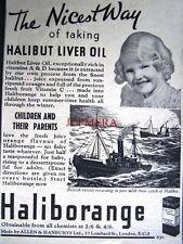 1937 'HALIBORANGE' Halibut Liver Oil Medical ADVERT - Small Chemist Print Ad