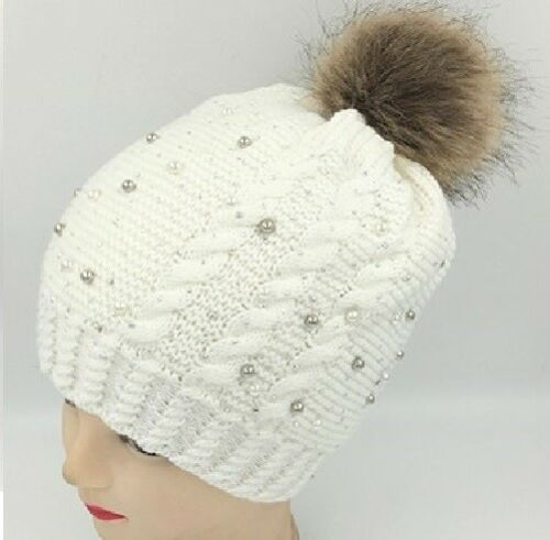 Warm Winter Ski Beanie Hat Fur Pom Pom Bling Crystal Pearl Studded Braided Knit