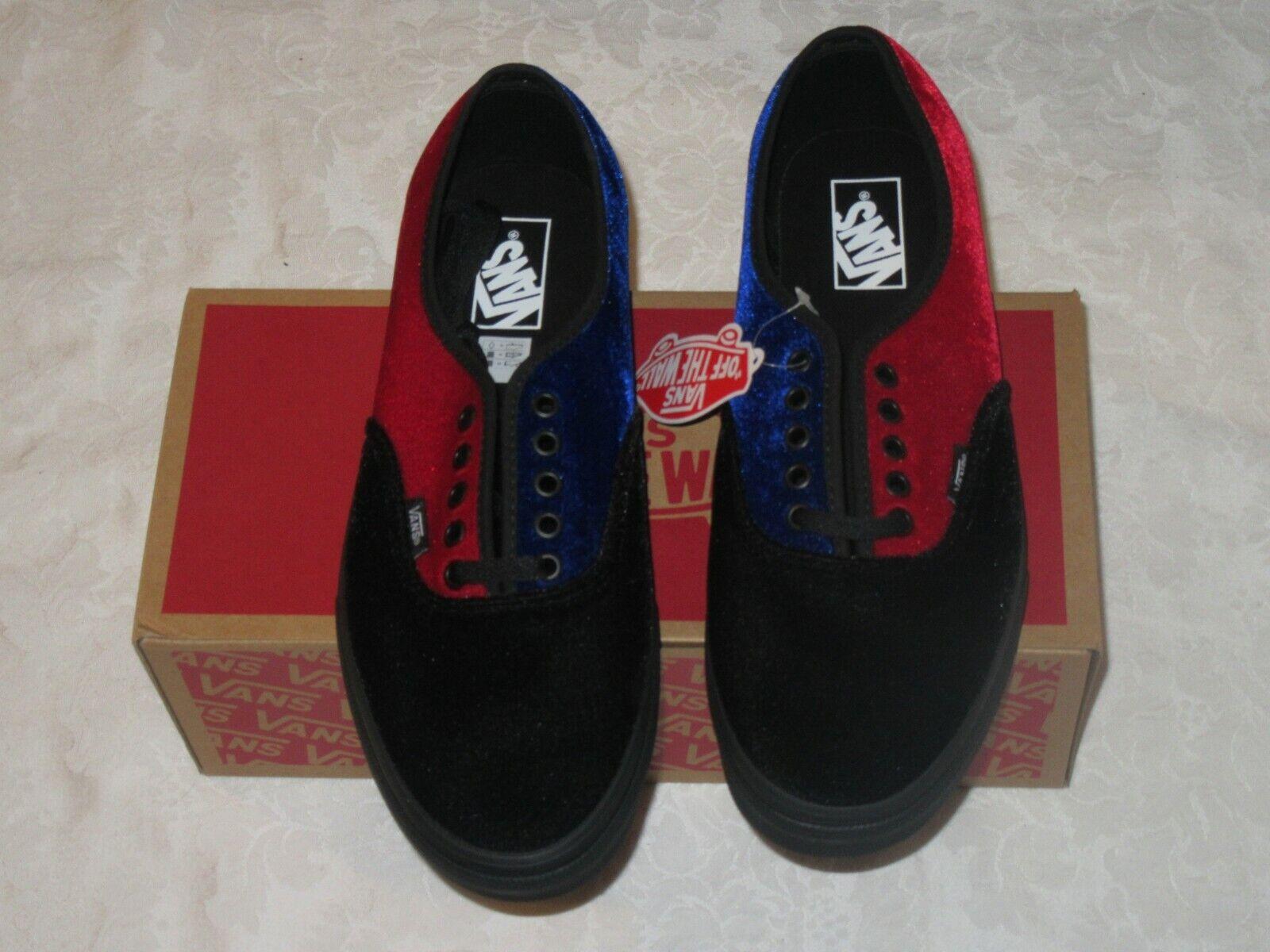 Vans Authentic Velvet Tri Tone VN0A38EMRYV Black bluee Red Exclusive Men US 10.5