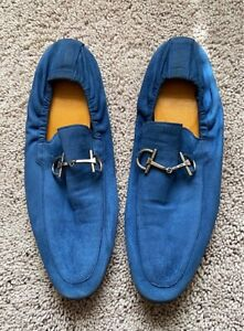 Authentic Gucci Blue Suede Leather Mens