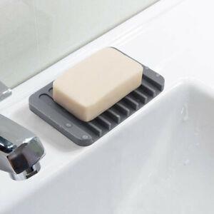Silicone-Bathroom-Soap-Dish-Soap-Holder-Soapbox-Plate-Tray-Drain-W8H