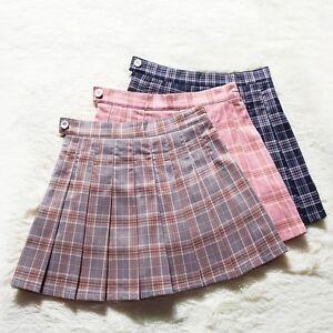 ace9f6f90 UK Women girls High Waist Pleated Tartan Mini Skirt Scotland ...
