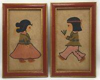 """Vintage Native Southwest Set Framed Sand Art Children Boy Girl 10"""" x 6"""""""