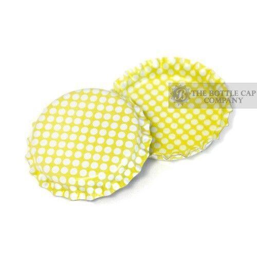 100 Polka Dot Bottle Caps PICK A COLOR Linerless Pastel Steel Caps