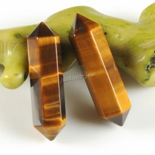 "Gemstone Rock Crystal healing double point chakra hexagonal wand stick 32mm 1.3/"""