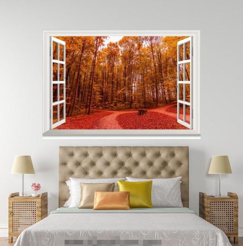 3D ROT Maple Leaf Road 0104 Open Windows WallPaper Murals Wall Print AJ Jenny