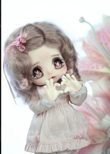 1//6 bjd doll cute sweet lovely big eyes girl free eyes face make up resin