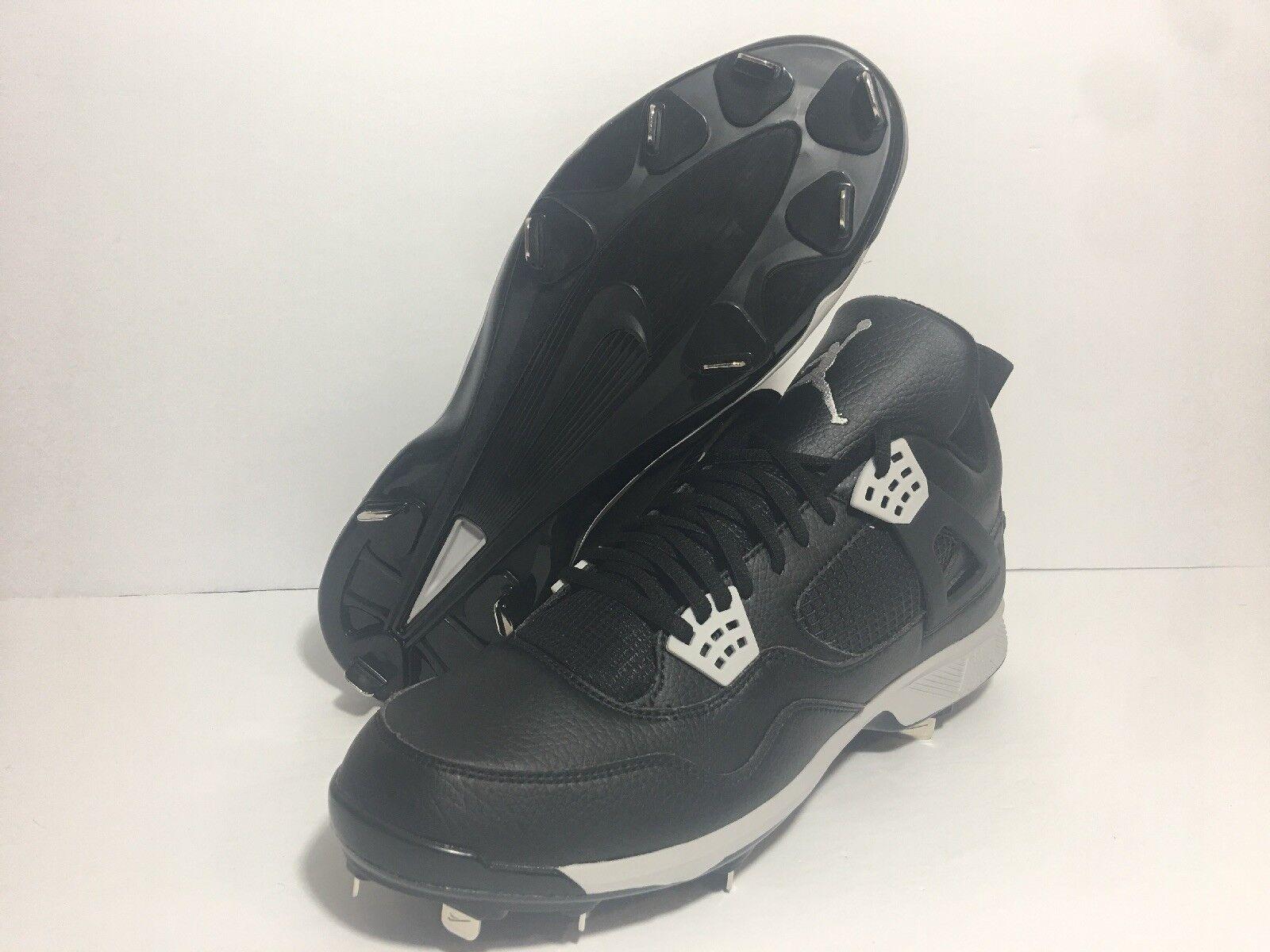 Men Nike Air Jordan IV 4 Baseball Metal Cleats Oreo Black Retro SZ 13 807710-010