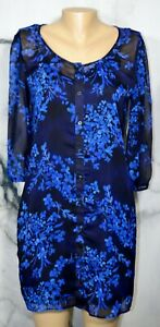 EXPRESS-Black-Blue-Floral-Shirt-Dress-Small-3-4-Sleeves-Attached-Liner-Polyester