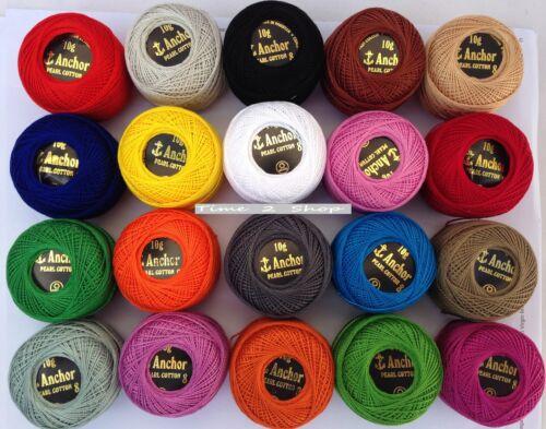 85 Meter each 20 Anchor Pearl Cotton Crochet Balls Best Colour Selection Size 8