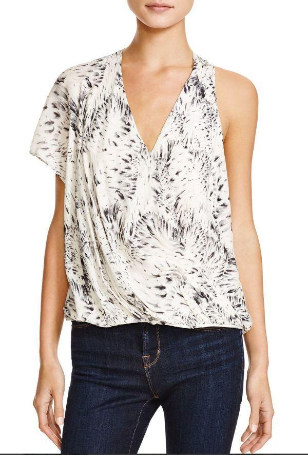 NWT Haute Hippie Printed One-Shoulder Silk Blouse  Top  Größe M