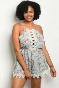 1a882c61661 Women s Plus Size Sage Green Floral Romper with Lace Accents 2XL NWT ...