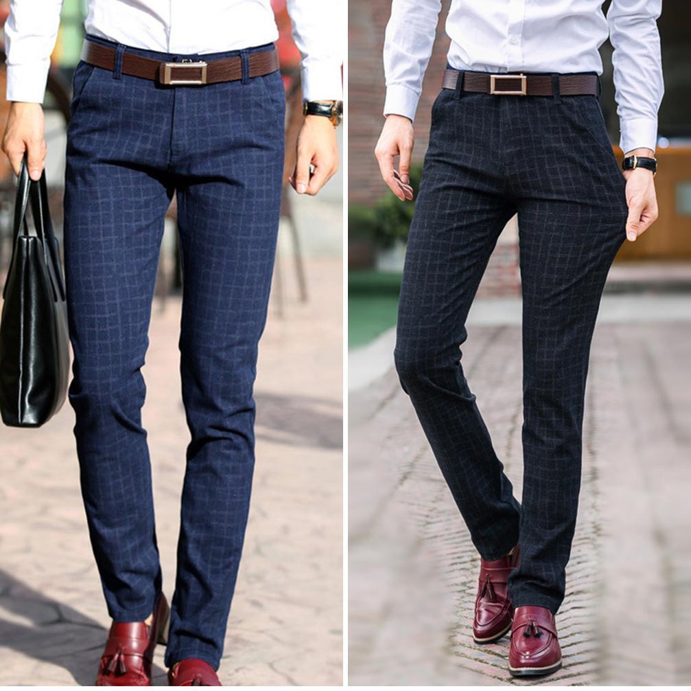 Men Slim Fit Boot Cut Pencil Pants Plaid Business Dress Leisure Trousers Long