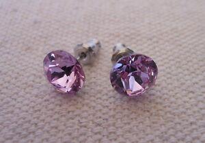 HYPOALLERGENIC-Stud-Earrings-Violet-Color-Crystal-Swarovski-Elements