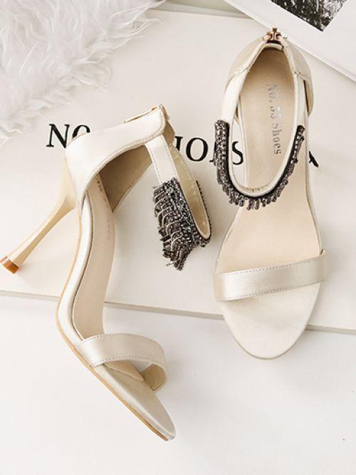 Sandali stiletto eleganti  9.5 cm panna pelle sintetica eleganti 8881