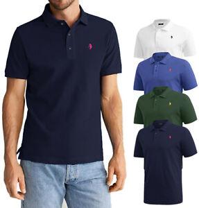 Polo-Uomo-Manica-Corta-P-Club-100-Cotone-T-shirt-Casual-M-L-XL-XXL-XXXL