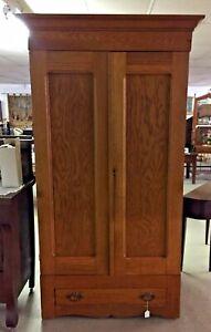Vintage Oak Wardrobe Cupboard Armoire