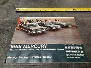 1968 Mercury Full Line Car Brochure Montego Cyclone Cougar Vintage Original