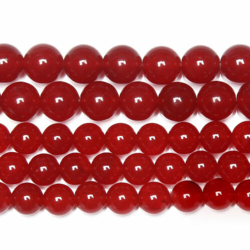 6mm-8mm Red Jade Smooth Round Ball Gemstone Loose Spacer Beads 15/""