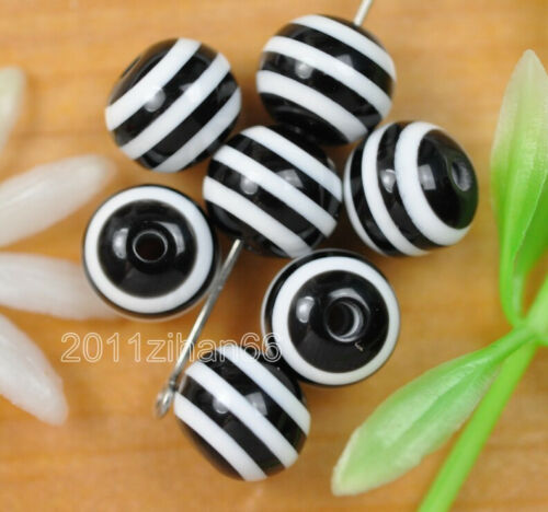 wholesale 100 Pcs black Striped Round bead acrylic Spacer Beads 8mm B380