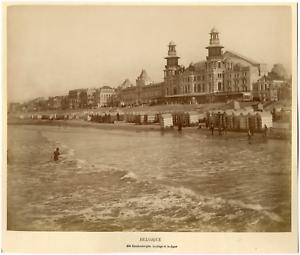 Belgique, Blankenberge, la plage et la digue  Vintage albumen print Tirage a