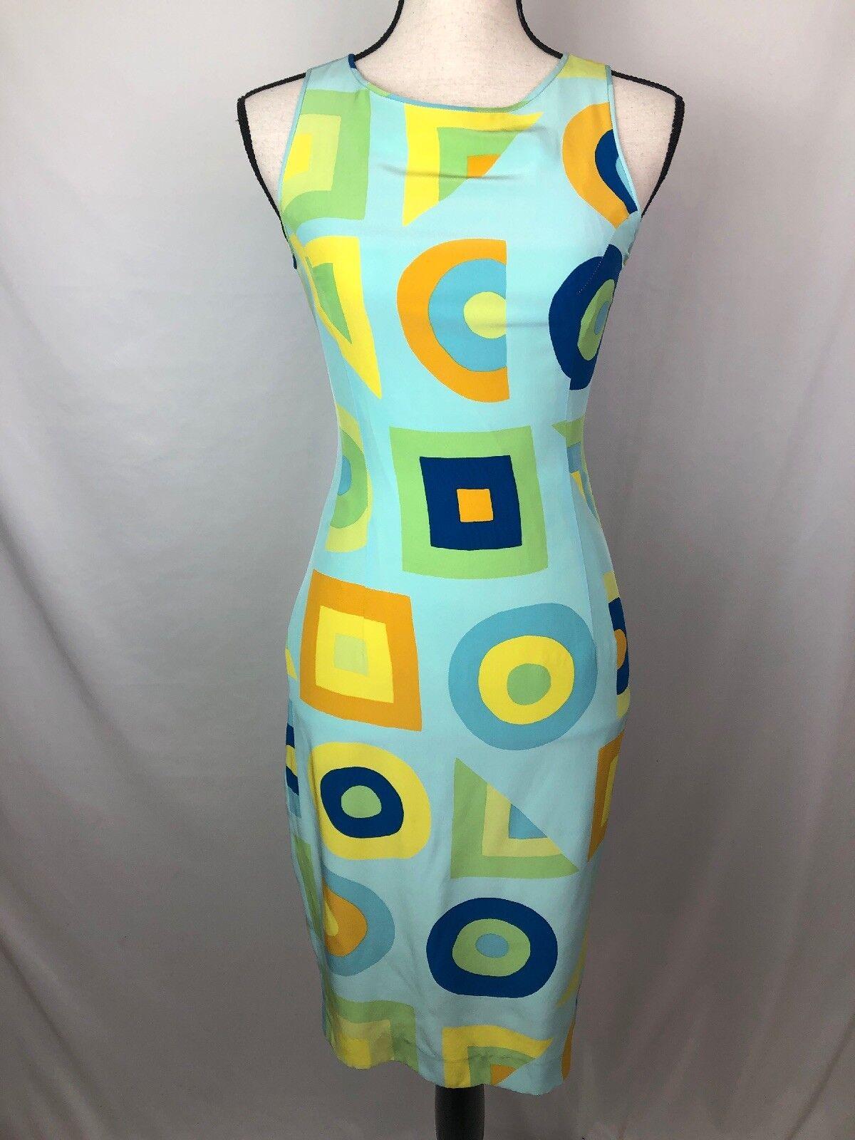 Vintage Catherine Malandrino Paris Silk bluee Yellow Sleeveless Pencil Dress 38
