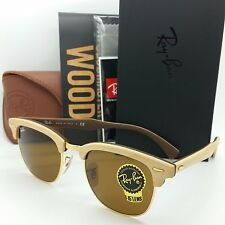 NEW RAYBAN CLUBMASTER Maple Wood Sunglasses RB3016M 1179 B-15 Gold AUTHENTIC