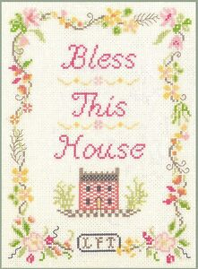 Bless-This-House-Sampler-Cross-Stitch-Kit-on-14-ivory-aida-with-colour-chart