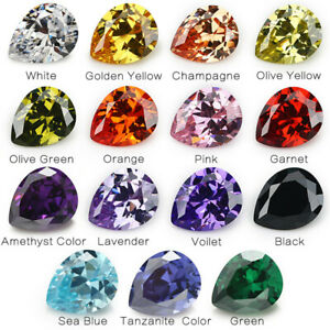 50pcs-2x3-13x18mm-White-cz-stone-AAAAA-Pear-loose-Cubic-Zirconia-4-Colors