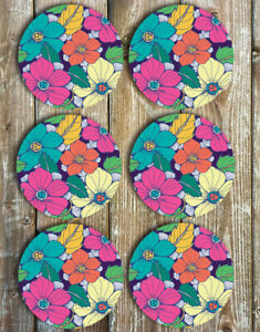 Drink-Coasters-Tropical-Flowers-Set-of-6-Non-Slip-Neoprene