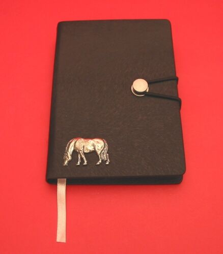 Grazing Pony Motif A6 Black Soft Touch Journal Father Mother/'s Useful Horse Gift