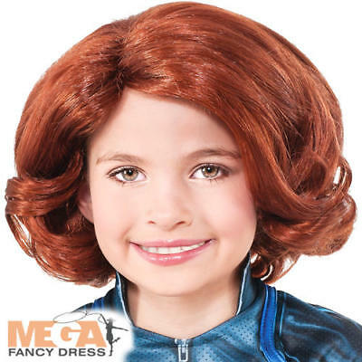Black Widow Wig Girls Fancy Dress Avengers Superhero Kids Childs Costume Wig New