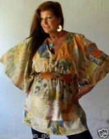 Brown Elastic Ppncho Top Style Bali Batik Antique Os M L Xl 1x 2x