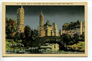 Central-Park-at-59th-Street-amp-5th-Ave-at-night-No-50-New-York-Linen-Unposted