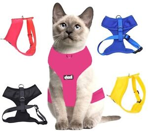 Cat-Harness-Pink-Black-Blue-Yellow-Red-Waterproof-Padded-Adjustable-S-M-L-EX-L