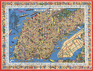 Early Pictorial New York Manhattan Map Subway System Wall Poster