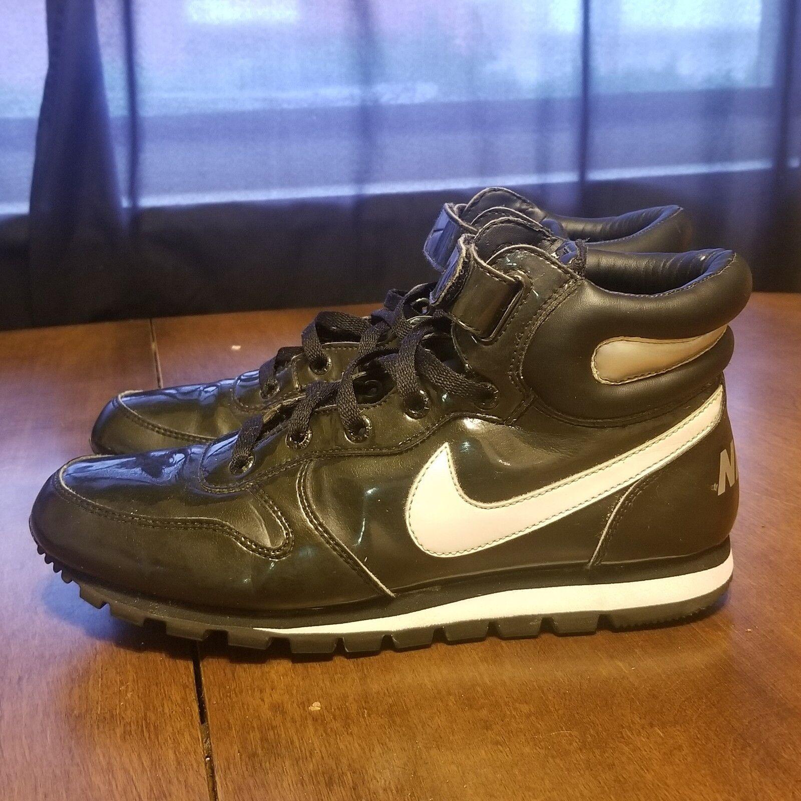 B37 Rare Nike Snow Trainer Plus Black Patent Leather Hi Top Strap Size 8.5