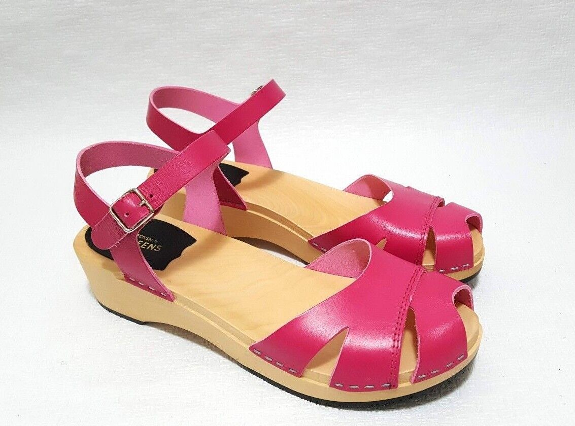 Swedish Hasbeens Suzanne Debutant Womens Leather Wooden Sandals, Pink EUR 40