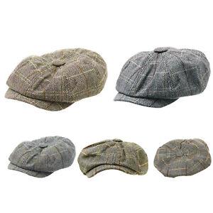 6a06c952510da Men s Baker Boy Flat Hat Peaked Newsboy Cap Peaky Blinders Hat ...