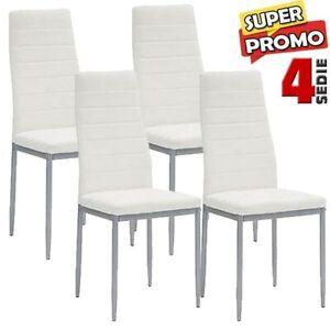 Set-4-Sedie-Moderne-sala-Pranzo-Salotto-Cucina-Seduta-Imbottita-Ecopelle-Bianco