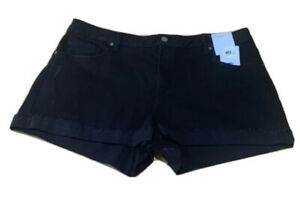 Ladies size 18 BLACK denim RAW EDGE Shorts Stretch Target NEW RRP$30